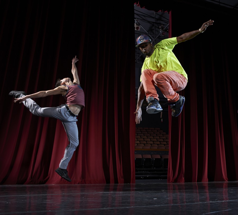 "Oakland Ballet Company dancer Vincent Chavez (left) and Rayshawn ""Looney"" Thompson (right) of the Turf Feinz in Graham Lustig's TURFLAND. (Photo: David DeSilva.)"