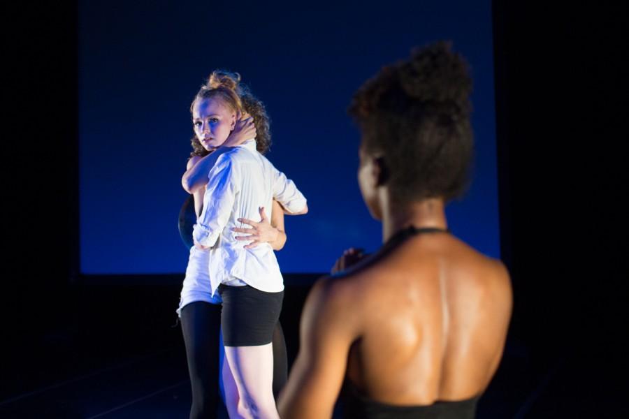 Sarah Bush, Juliann Witt and Krystal Bates (foreground) in ROCKED BY WOMEN (Photo: Molly DeCoudreaux)