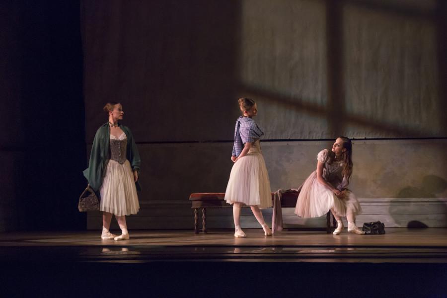 Elizabeth Hansen, Alexis Polito, and Cara Marie Gary in recreate a Degas-like moment in Wheeldon's Swan Lake (Photo: Cheryl Mann)
