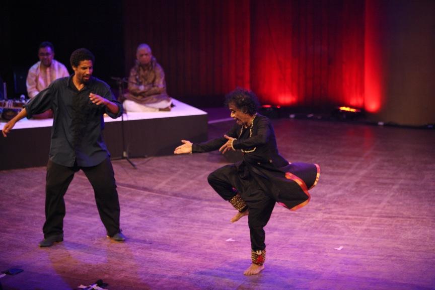 Freestyler Jason Samuels Smith and Kathak master Pandit Chitresh Das in performance. (Photo courtesy San Francisco International South Asian Film Festival.)