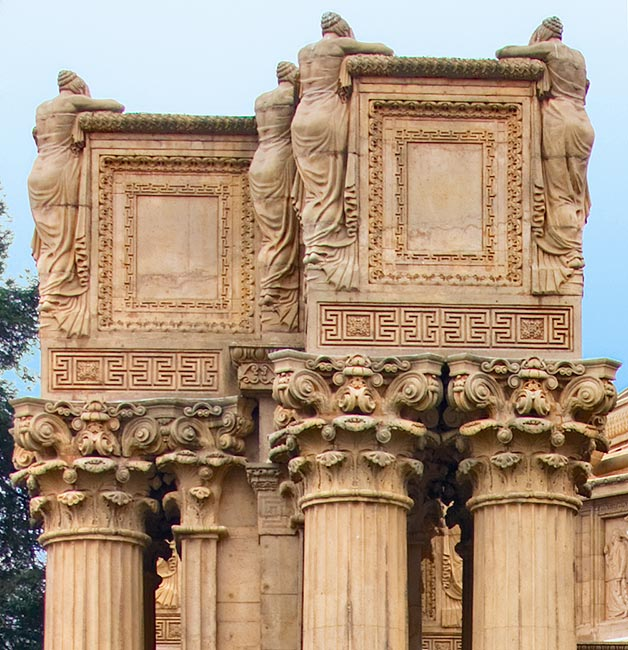 Ulric Ellerhusen's Weeping Women atop the colonnade of the Palace of Fine Arts