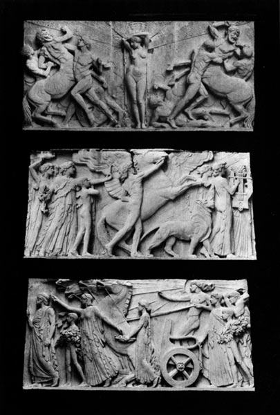 """Bruno Luis Zimm's repeating stone panels around the entablature of the Rotunda at the Palace of Fine Arts, representing """"The Struggle for the Beautiful"""""""