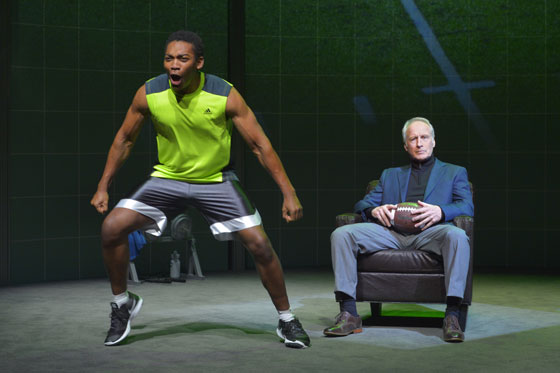 (l to r) Eddie Ray Jackson (Anthony) and Bill Geisslinger (Frank) in the world premiere of X's and O's (A Football Love Story), a hard-hitting docudrama at Berkeley Rep that examines our country's passion for a game that can be life-enhancing and lethal (Photo: Kevin Berne)