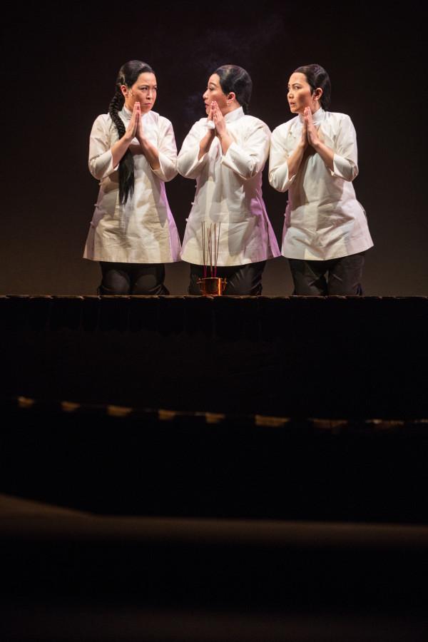 Louisa So, Alice Lau, and Pang Hang-ying in Roger Lee and Wong Wing-sze's THE AMAHS at the Hong Kong Arts Festival. (Photo: Keith Hiro)
