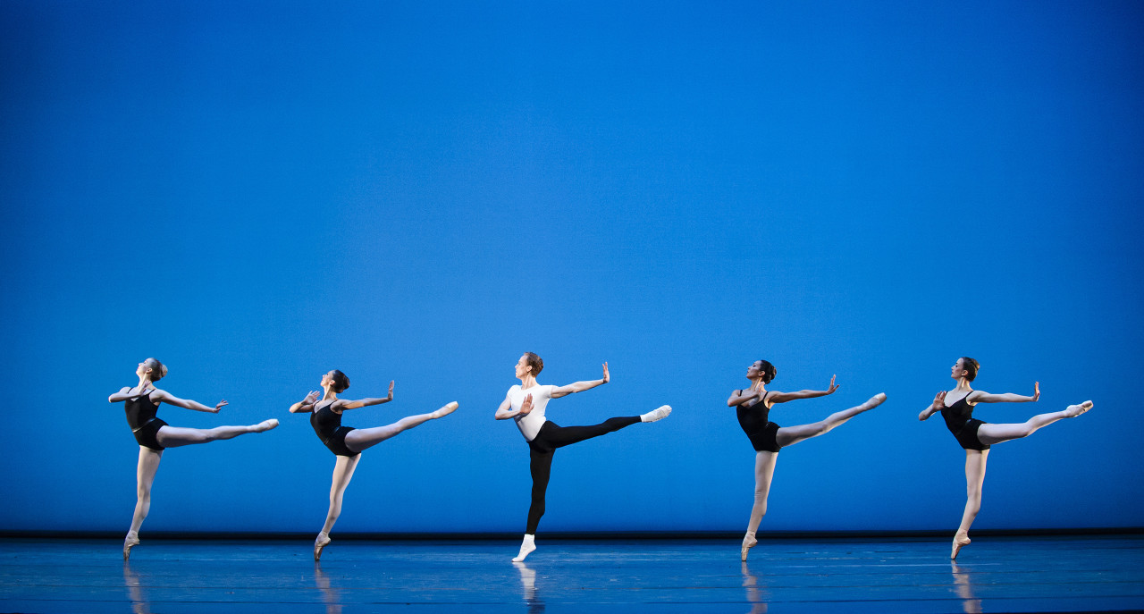 Edward Watson and the artists of the Royal Ballet in Balanchine's THE FOUR TEMPERAMENTS (Photo: Tristram Kenton)