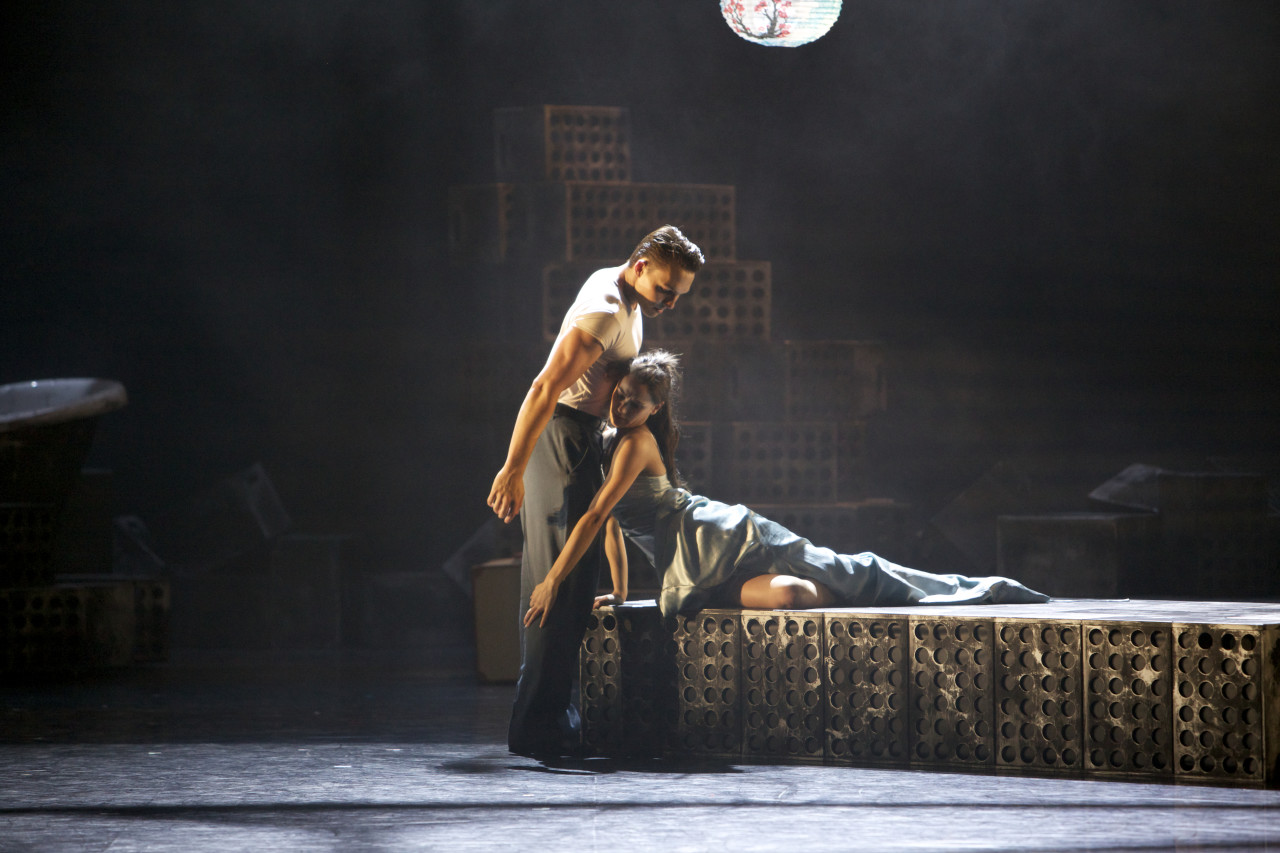 Sophie Martin as Stella and Tama Barry as Stanley in A Streetcar Named Desire. Photograph by Andrew Ross.