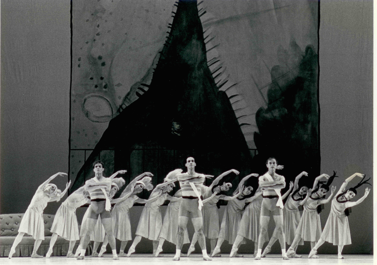 (l to r) The Three Athletes: Joral Schmalle, Ron Thiele, and Don Schwennesen with Oakland Ballet Company dancers in Bronislava Nijinska's Les Biches, restaging by Irena Nijinska.