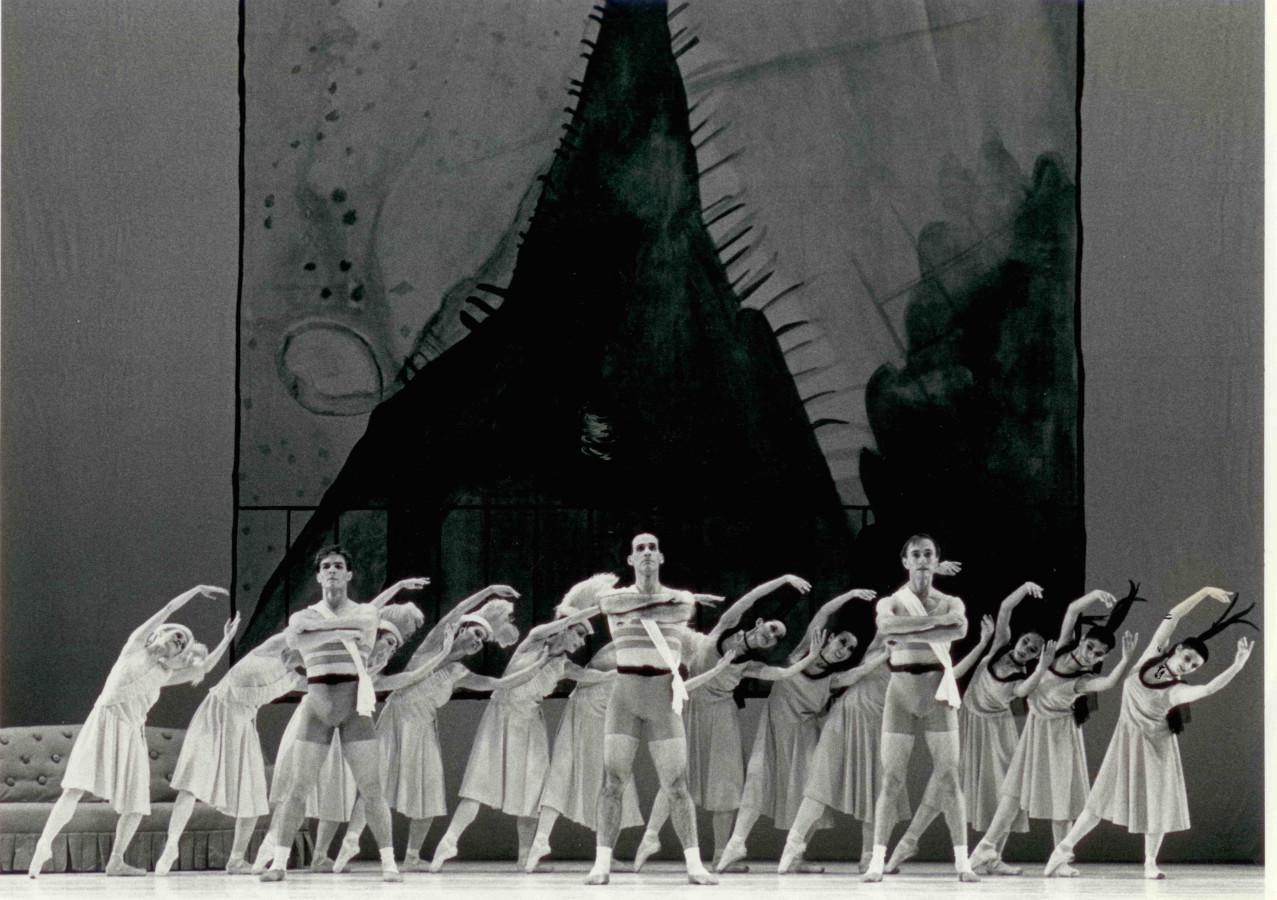 (l to r) The Three Athletes: Joral Schmalle, Ron Thiele, and Don Schwennesen with Oakland Ballet Company dancers in Bronislava Nijinska's Les Biches, restaging by Irena Nijinska.Photo: John Markowski(1990)