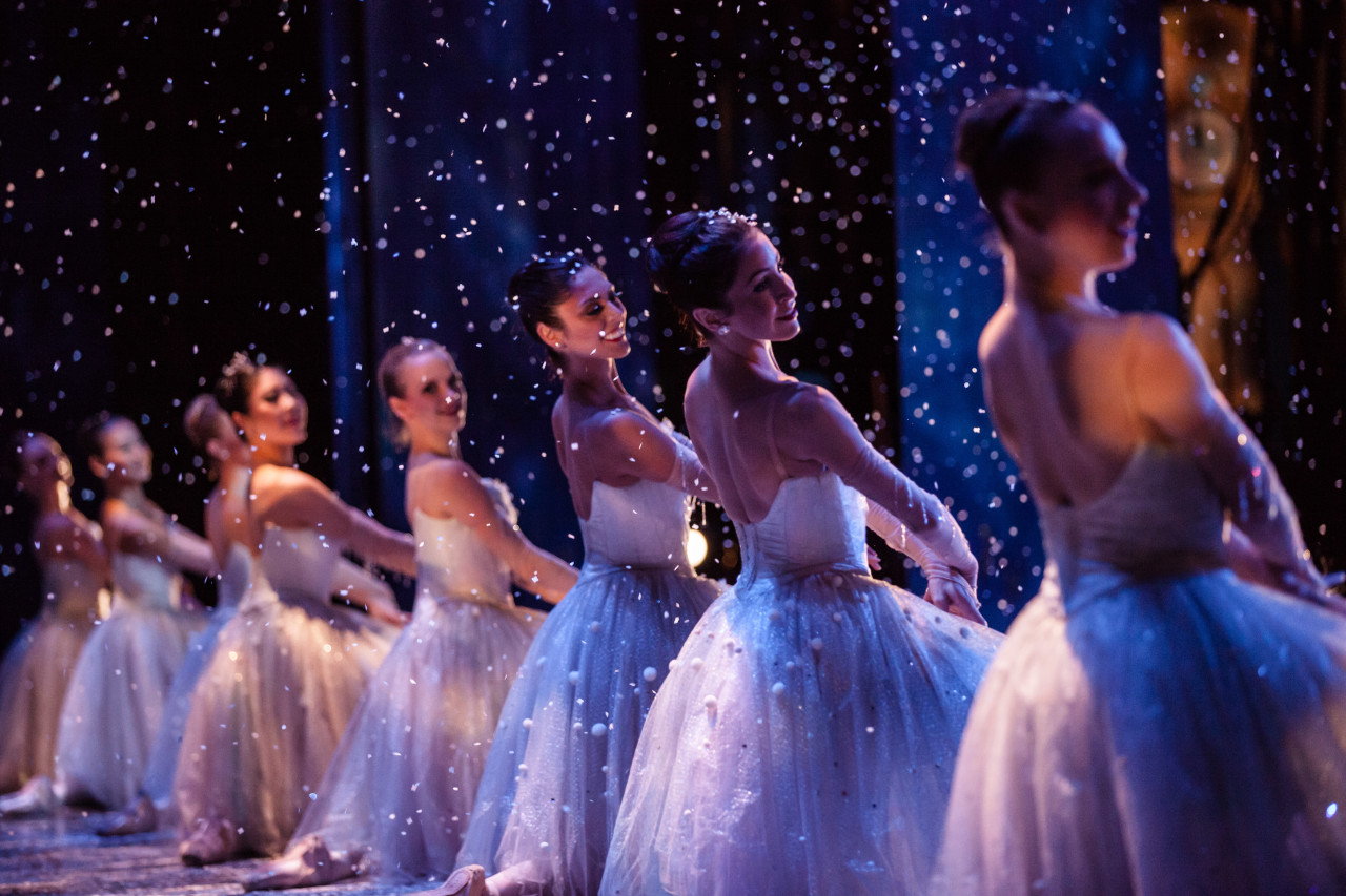It's snowing in Silicon Valley, too! Annali Rose, Shannon Bynum, Beth Ann Namey and Nicole Larson of Silicon Valley Ballet (formerly Ballet San Jose) in Karen Gabay's THE NUTCRACKER (Photo: Quinn Wharton)