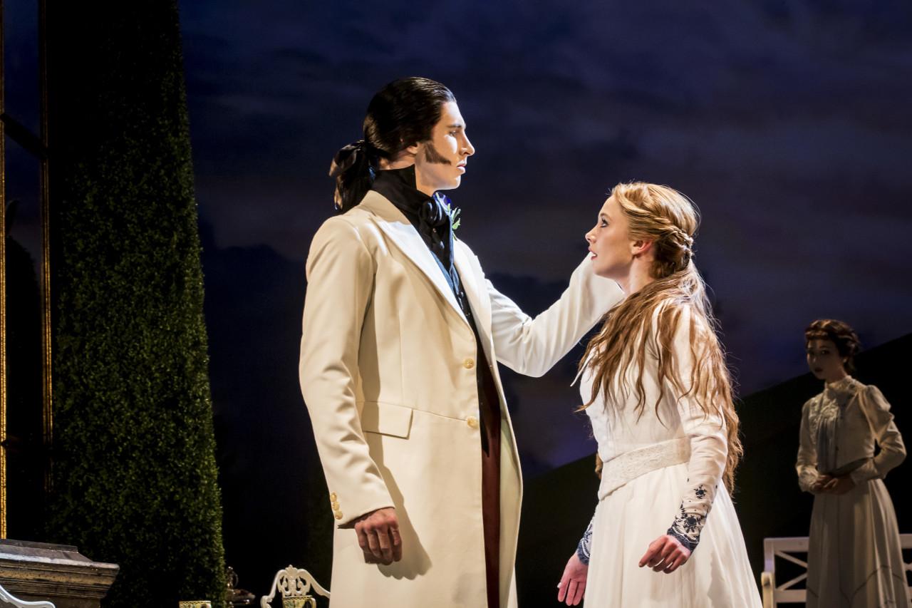 Tom Clark as the sleazy Caradoc and Cordelia Braithwaite as Princess Aurora (Photo: Johan Persson)