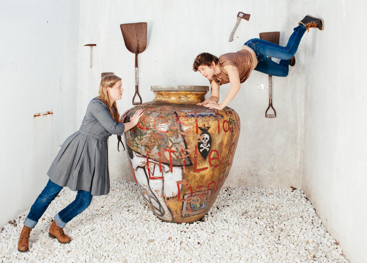 Collette Kollewe and Molly Katzman in Cid Pearlman's Economies of Effort: 3 at the Felix Kulpa Gallery in Santa Cruz (Photo: Beau Saunders)