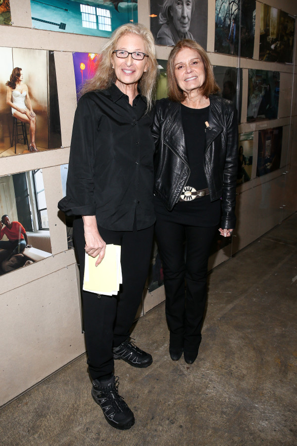 The photographer with Gloria Steinem at the press preview for WOMEN: New Portraits