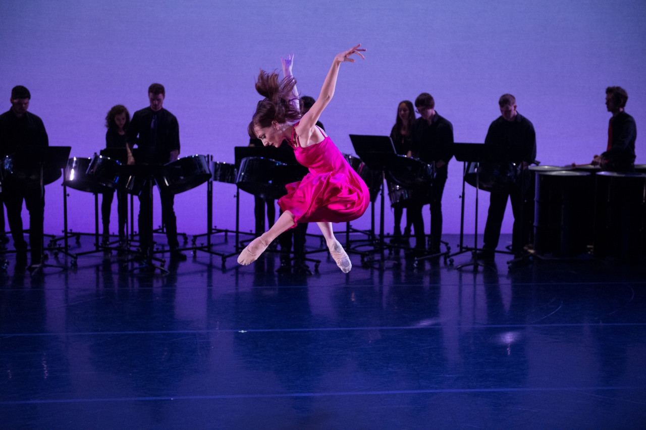 Amanda Treiber and NYU Steel in Steven Melendez' and Zhong-Jing Fang's Song Before Spring for New York Theatre Ballet at New York Live Arts (Photo: Rachel Neville)