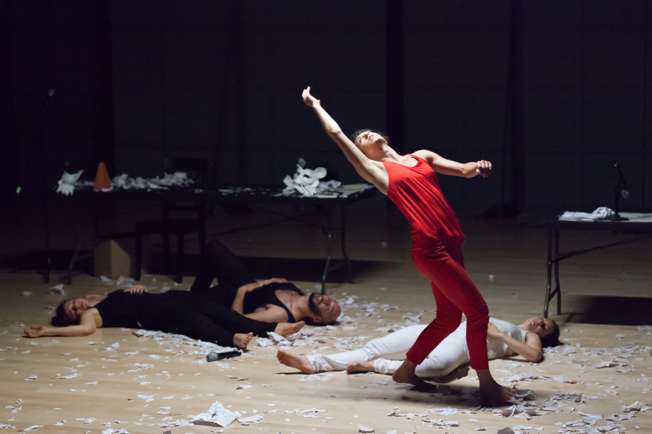 Hope Mohr Dance in Manifesting, with Tara McArthur (in red)  (Photo: Margo Moritz)