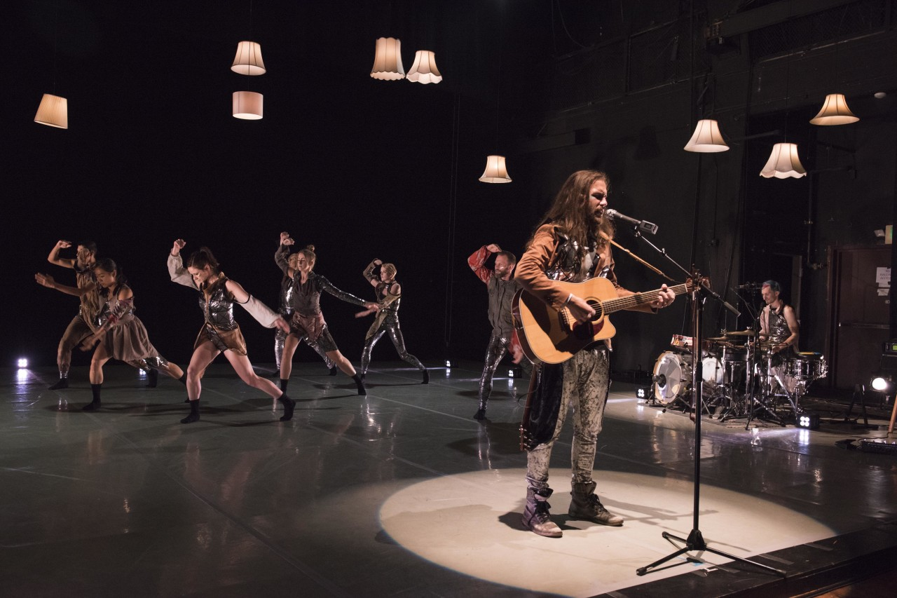 Travis Andrews (on guitar) with Andy Meyerson (on drums) of The Living Earth Show and the dancers of Post:Ballet inDo Be (Family Sing-A-Long and Game Night) (Photo: Natalia Perez)