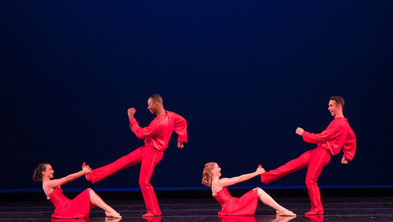 Terez Dean, Dustin James, Tessa Barbour, and Ben Needham-Wood in Nicole Haskins' J-I-N-G-L-E Bells, part of Smuin Ballet's 22nd edition of THE CHRISTMAS BALLET (Photo: Keith Sutter)